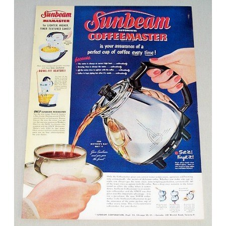 1952 Sunbeam Coffeemaster Coffee Pot Color Print Ad