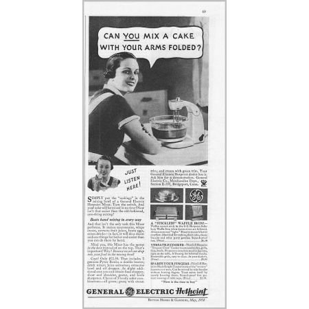 1934 General Electric Hotpoint Mixer Vintage Print Ad