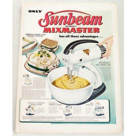 1948 Sunbeam Automatic Mixmaster S Mixer Color Print Ad