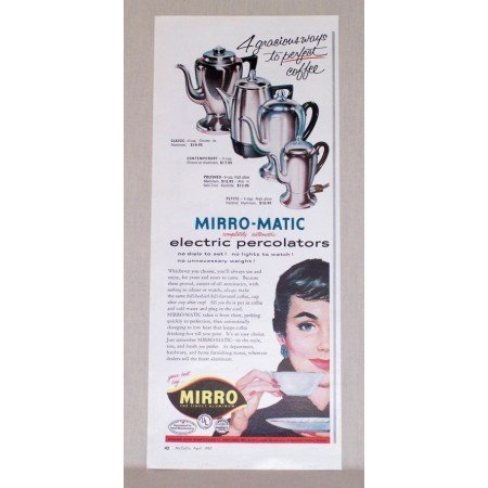 1957 Mirro-Matic Electric Percolators Coffee Pots Vintage Print Ad