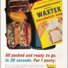 1962 Waxtex Sandwich Bags Color Print Ad - Packed And Ready