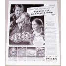 1938 Pyrex Ovenware Vintage Print Ad - Any Girl Can Be A Better Cook