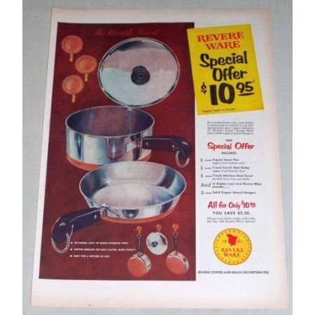 1956 Revere Ware Kitchen Pots Pans Color Print Ad