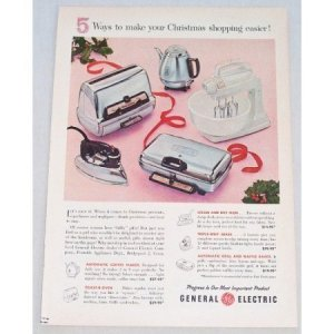 1956 General Electric Small Kitchen Appliances Color Print Ad