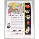 1934 Federal Chip-Proof Stainless Enamelware Color Print Ad
