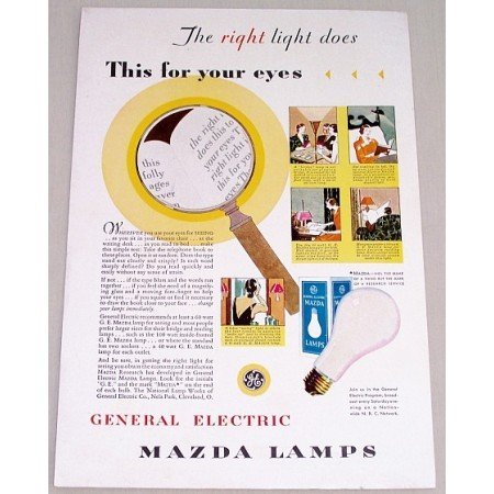 1931 General Electric Mazda Lamps Color Print Ad - Right Light