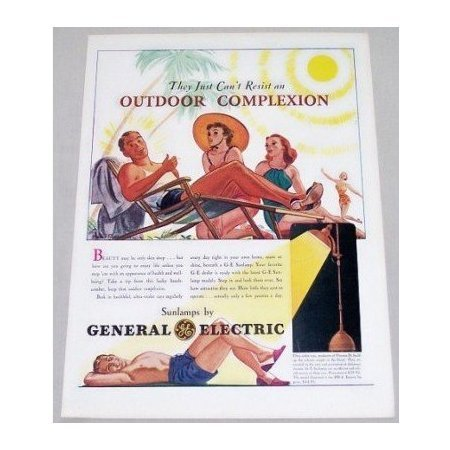 1939 General Electric Sunlamps Color Print Art Ad