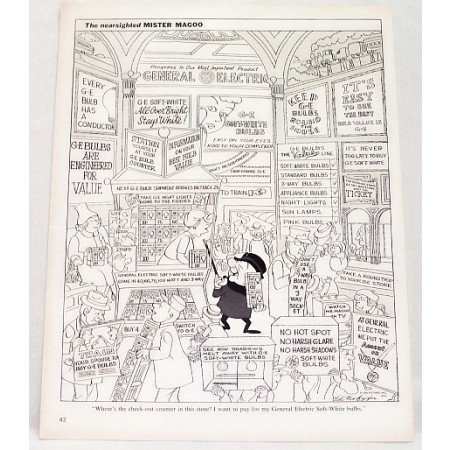 1962 GE Soft White Light Bulbs Vintage Mr Magoo Print Cartoon Ad