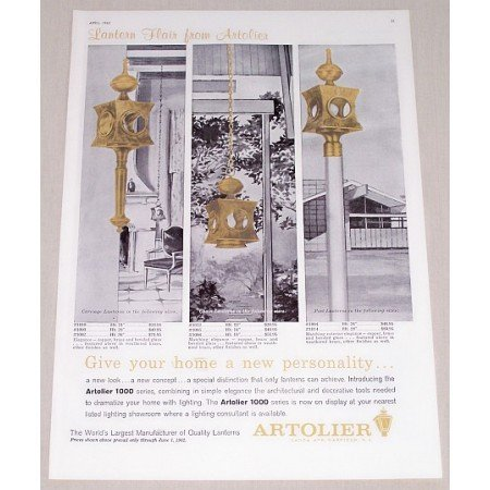 1962 Artolier 1000 Lanterns Color Print Ad - Lantern Flair