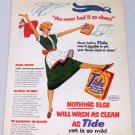 1953 Tide Laundry Detergent Vintage Color Print Art Ad