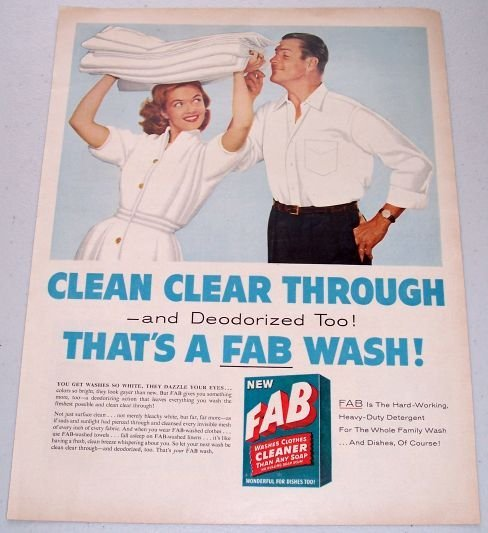 1957 Fab Heavy Duty Detergent Color Print Ad