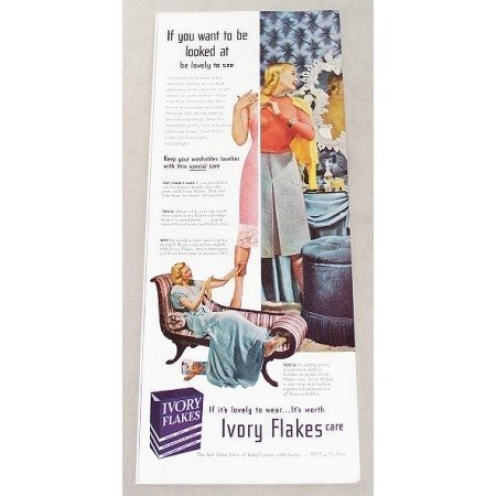 1947 Ivory Flakes Detergent Color Print Ad