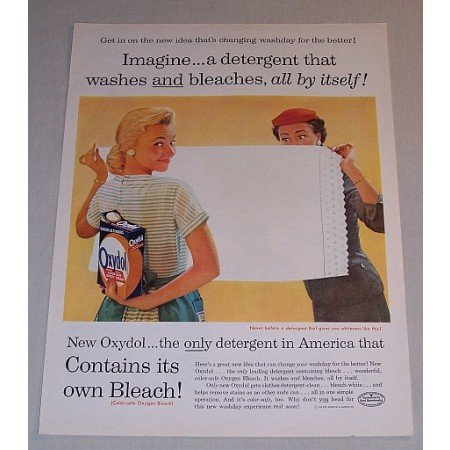1957 Oxydol Detergent Color Print Ad Washes and Bleaches