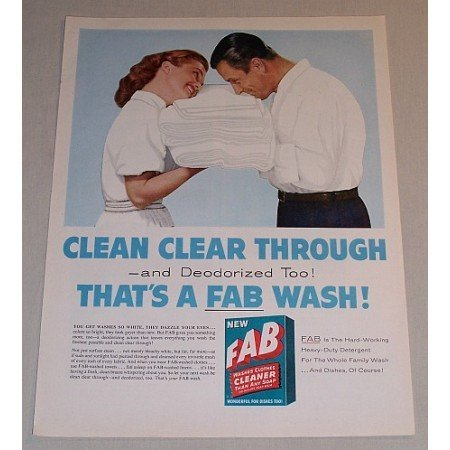 1957 Fab Detergent Color Print Ad Clean Clear Through