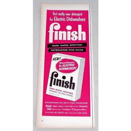1956 Finish Dishwashing Powder Detergent Color Print Ad
