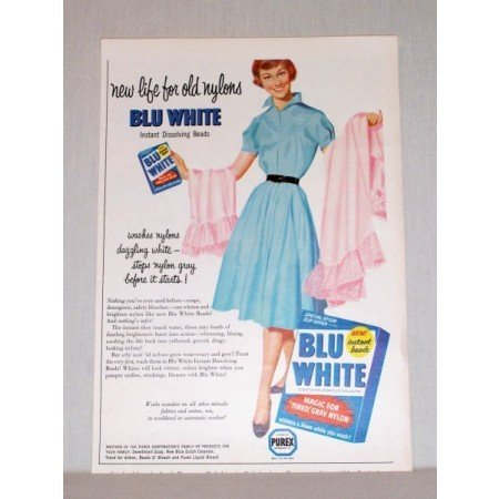 1957 Blu White Detergent Color Print Ad - New Life For Old Nylons