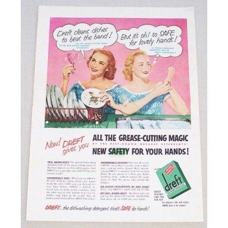 1952 Dreft Dishwashing Detergent Color Print Ad - Safe Hands