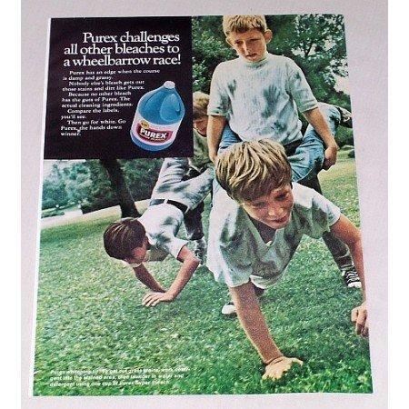 1968 Purex Super Bleach Color Print Ad - Wheelbarrow Race