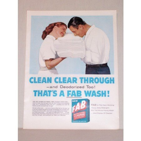 1957 Fab Detergent Color Print Ad - Clean Clear Through