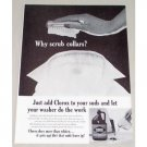 1961 Clorox Bleach Brown Jug Vintage Print Ad - Why Scrub Collars?