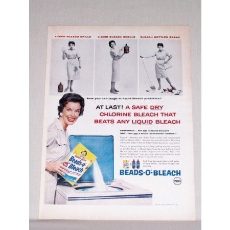 1958 Purex Beads-O-Bleach Dry Bleach Color Print Ad