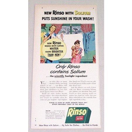 1949 Rinso Soap Powders Color Print Ad - Sunshine Wash
