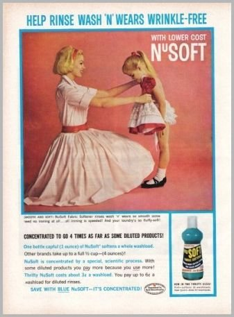 1960 NuSoft Fabric Softener Color Print Ad - Wash 'N' Wears