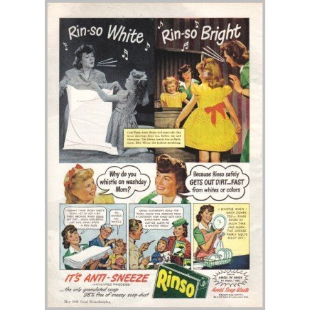 1945 Rinso Detergent Color Print Ad - Rinso White Rinso Bright