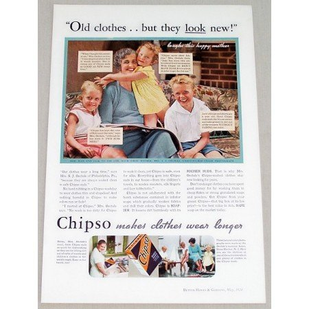 1934 Chipso Quick Suds Detergent Color Print Ad - Old Clothes