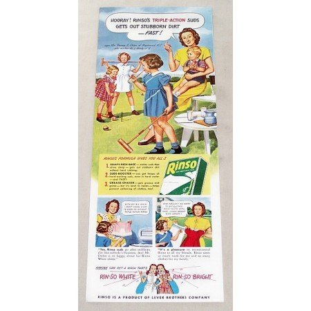 1947 Rinso Detergent Vintage Print Color Art Ad - Mrs. Thomas Dolan N.J.