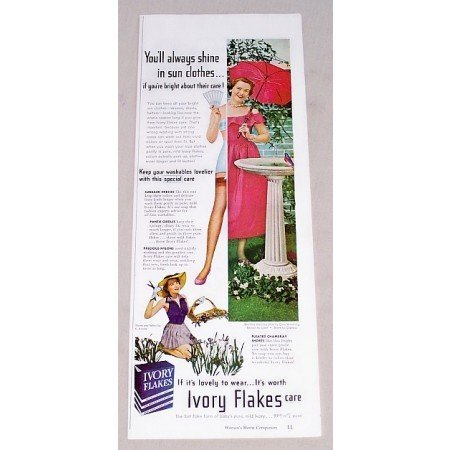 1949 Ivory Flakes Detergent Color Print Ad - You'll Always Shine