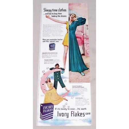 1949 Ivory Flakes Detergent Vintage Print Ad - Sleepy Time Clothes