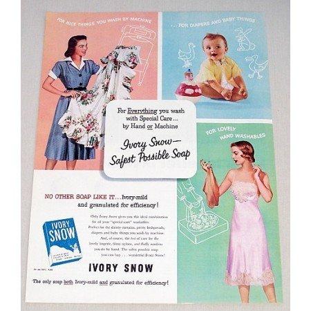 1953 Ivory Snow Detergent Color Print Ad - Safest Soap