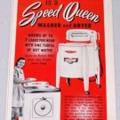 1952 Speed Queen Washer Dryer Vintage Appliance Color Print Ad