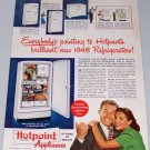 1947 Vintage Color Print Ad for 1948 Hotpoint Stor-mor Refrigerator