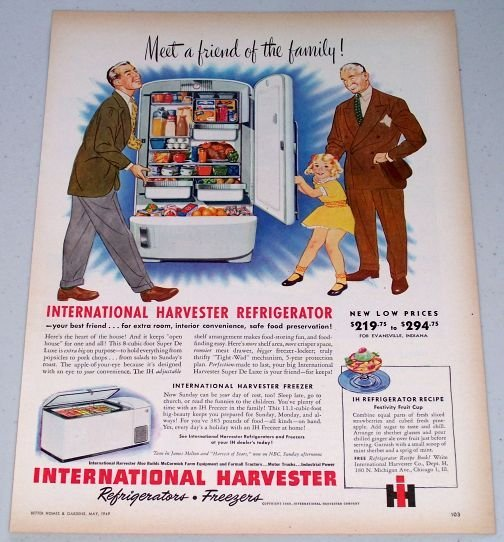 1949 International Harvester IH Refrigerator Color Appliance Print Ad