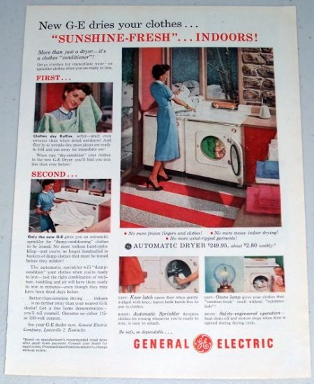 1954 General Electric GE Automatic Dryer Color Appliance Print Ad