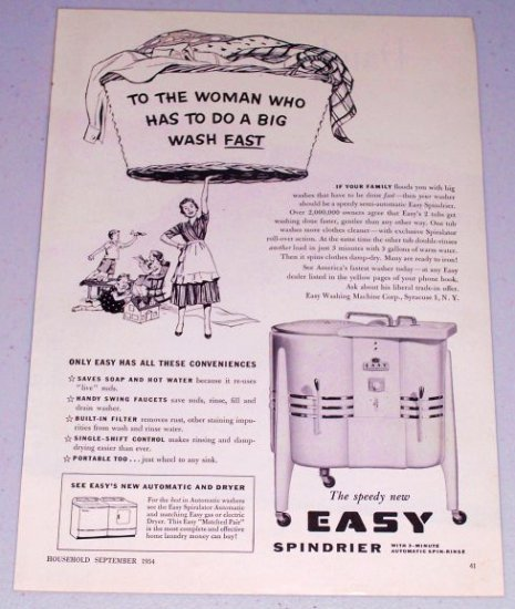 1954 Easy Spindrier 2 Tub Washer Vintage Print Ad