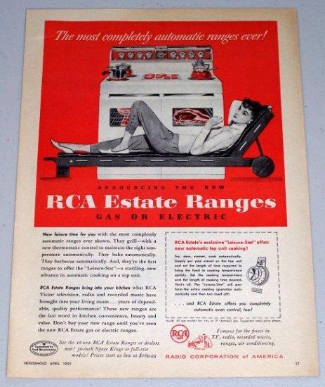 1955 RCA Estate Ranges Stove Appliance Color Print Ad
