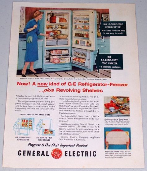 1955 General Electric Model LH-14M Refrigerator Freezer Color Appliance Color Print Ad