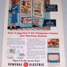 1955 General Electric Model LH-14M Refrigerator Freezer Color Appliance Color Print Ad