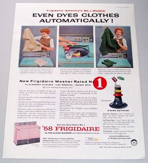 1958 Frigidaire Ultra-Clean Washer Color Print Ad