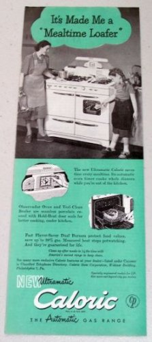 1948 Caloric Automatic Gas Range Color Print Ad - Mealtime Loafer