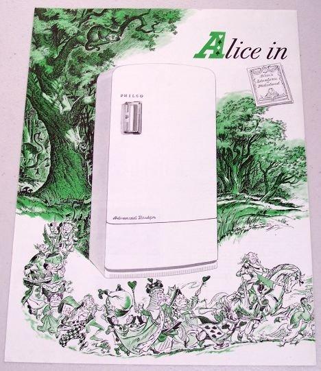 1948 Philco Advanced Design Refrigerator 2 Page Color Print Ad - Alice In Philcoland