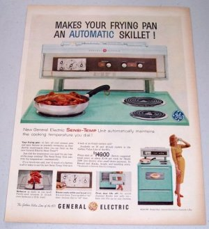1960 GE General Electric Model J308 Sensi-Temp Cooking Range Stove Color Print Ad