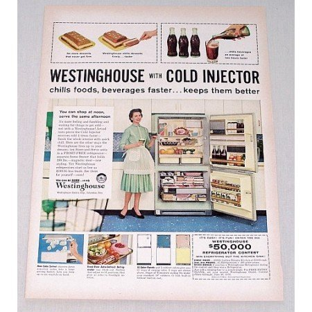 1958 Westinghouse Refrigerator Color Print Ad