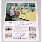 1956 General Electric Keyboard Cooking Range Color Print Ad