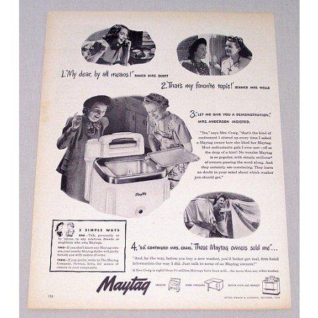 1948 Maytag Wringer Washer Vintage Print Ad 3 Simple Ways