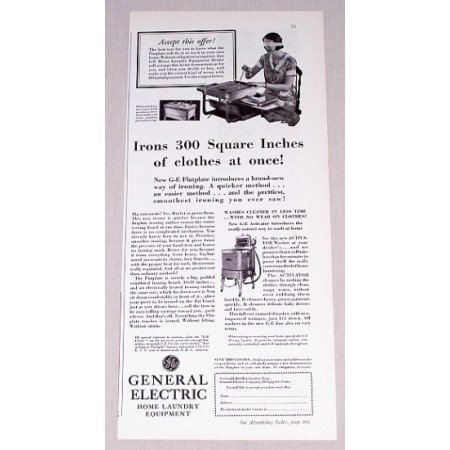 1932 General Electric Activator Wringer Washer Vintage Print Ad