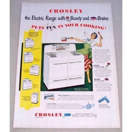 1950 Crosley Model DE-129 Electric Range Stove Color Print Ad